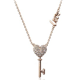 Ericdress Key of Love Diamante Pendant Necklace