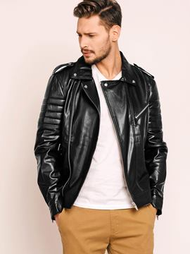 Lapel Side Zipper Men's PU Jacket