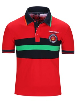 Ericdress Embroidery Pullover Short Sleeve Polo Men's T-Shirt