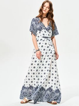 Ericdress V-Neck Geometric Pattern Print Maxi Dress