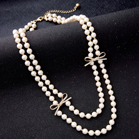 Ericdress Double Layers Bowknot Design Pearl Necklace