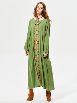 Geometric Pattern Embroidery Maxi Dress