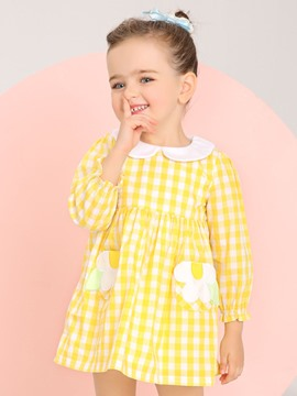 Ericdress Plaid Doll Collar Long Sleeve Bay Girls Dress
