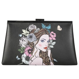 Ericdress Vogue Beauty Print Clip Evening Clutch