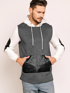 Ericdress Color Block Casual Patchwork Pullover Men's Hoodie