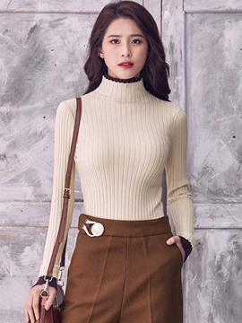 Ericdress Color Block Slim Simple Knitwear