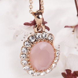 Ericdress Pink Opal with Rhinestone Pendant Necklace
