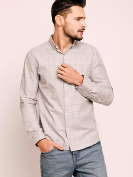 Ericdress Single-Breasted Plaid Long Sleeve Casual Men's Shirt