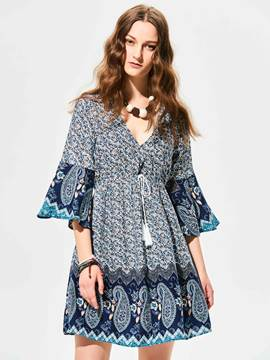 Ericdress Deep V-Neck Flower Print Flare Sleeves Backless Casual Dress
