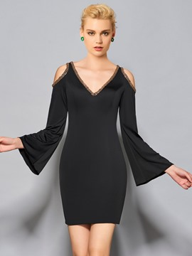 Ericdress Sheath Long Sleeve Beaded V Neck Short/Mini Cocktail Dress