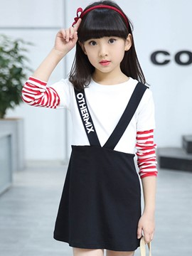 Ericdress Double-Layer Color Block Girls Dress