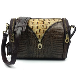 Ericdress Vintage Crocodile Embossed Boston Shoulder Bag