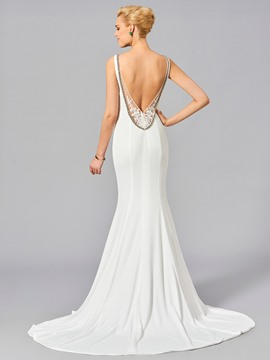 Ericdress Beaded V Neck Open Back Mermaid Evening Dress