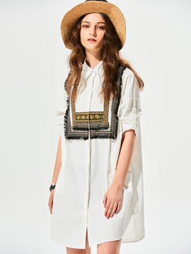 Ericdress Loose Geometric Pattern Embroideried Blouse