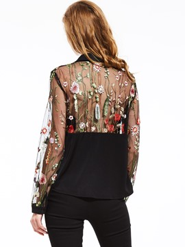 Ericdress Floral Embroidery See-Through Blouse