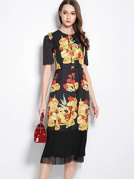 Ericdress Print Puff Sleeve Mermaid Maxi Dress