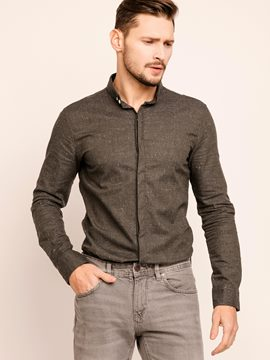 Ericdress Mottled Hidden Button Long Sleeve Slim Men's Shirt