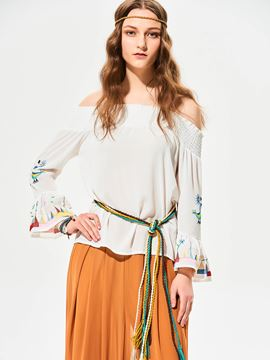 Ericdress Slash Neck Flare Sleeves Embroidery T-shirt