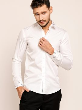 Ericdress Plain Vogue Embroidery Long Sleeve Men's Shirt