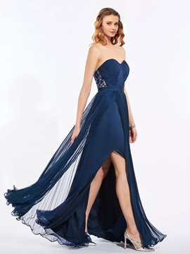 Ericdress A Line Sweetheart Pleats Applique Button Back Prom Party Dress