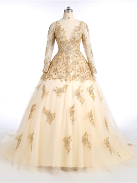 Ericdress A-Line Long Sleeves Appliques Beaded Sequins Quinceanera Dress