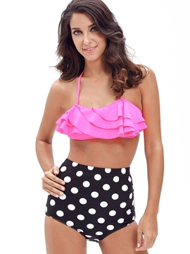 Ericdress Loveable Falbala Polka Dots Tankini Set