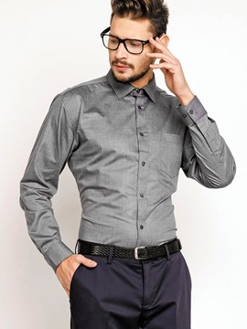 Ericdress Business Plain Lapel Single-Breasted Men's Shirt