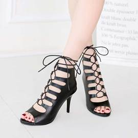 Ericdress Cut Out Lace up Stiletto Sandals