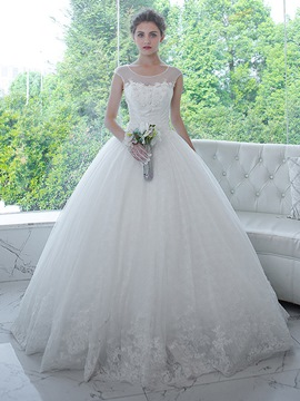 Ericdress Elegant Scoop Appliques Ball Gown Wedding Dress