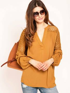 Ericdress Loose Plain Hollow Blouse