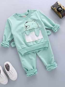 Ericdress Cartoon Bear Long Sleeve T-Shirt Pants Boys Outfit
