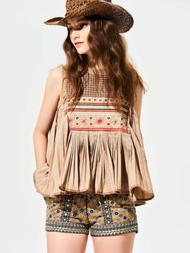 Ericdress Floral Embroideried Pleated Tank Top