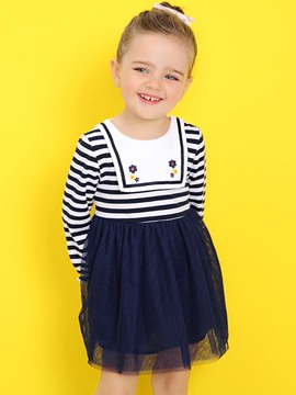 Ericdress Stripe Patchwork Bay Girls Tutu Dress
