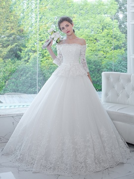 Ericdress Elegant Off The Shoulder Appliques Beaded Ball Gown Wedding Dress