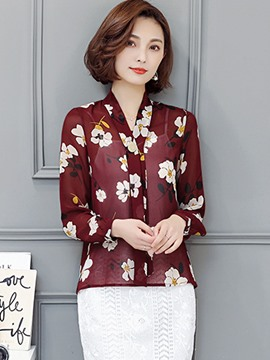 Ericdress Loose Floral Printed Lace-Up Blouse