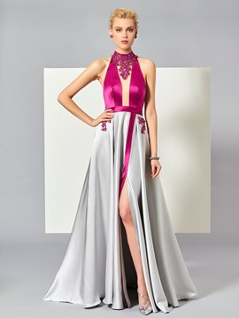 Ericdress A Line Beaded Halter Muliti-Color Backless Evening Dress With Side Slit