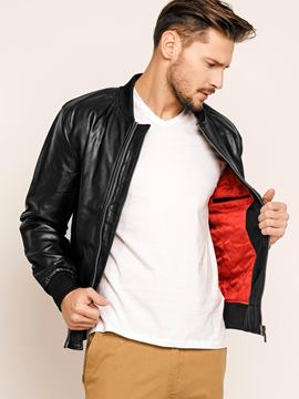 Stand Collar PU Men's Down Jacket