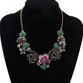 Ericdress Bohemian Sweet Alloy Oil Drip Flowers Pendant Necklace