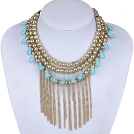 Ericdress Long Alloy Tassels Beading Necklace