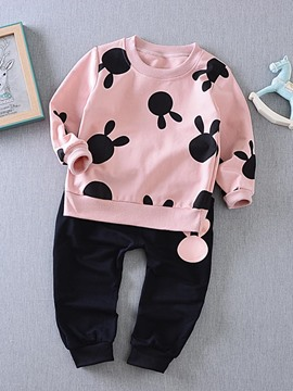 Ericdress Cartoon Pattern Long Sleeve 2-Pcs Girls Outfit