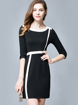 Ericdress OL Color Block Patchwork Zipper Bodycon Dress