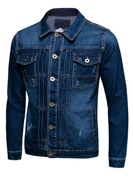 Ericdress Single-Breasted Pocket Denim Casual Men's Jacket