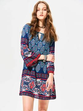 Ericdress Round Neck Geometric Pattern Above Knee Casual Dress