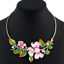 Ericdress Leaf & Flower Oil Drip Design Necklace