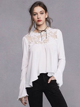 Ericdress White Lace Embroidery Pleated Blouse