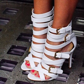 Ericdress White Cross Strappy Stiletto Sandals