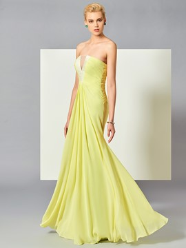 Ericdress A Line Strapless Pleats Chiffon Floor Length Long Evening Dress
