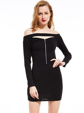 Slash Neck Hollow Bodycon Dress