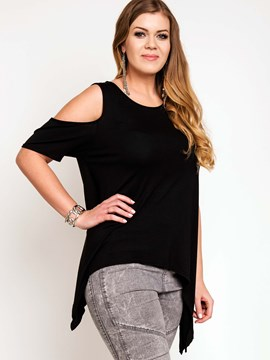 Ericdress Cold Shoulder Irregular T-Shirt