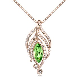 Ericdress Golden Leaf Pendant Necklace with Crystal